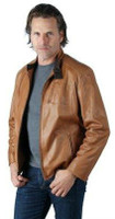 Remy Men's Leather Zip Front Jacket Luggage/Cocoa