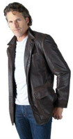 Remy Men's Leather Zip and Button Front Jacket Bark/Cocoa