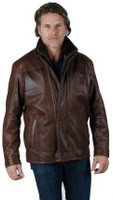 Remy Men's Leather and Wool Lining Zip and Button Up Jacket Saddle/Cocoa