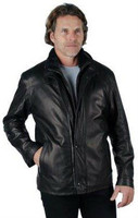 Remy Men's Leather and Wool Lining Zip and Button Up Jacket Onyx