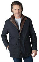 Remy Men's Leather Lined Zip and Button Front Jacket Ink/Rustic