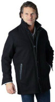 Remy Men's Wool Zip and Button Up Jacket Noir