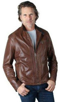 Remy Men's Leather Zip Up Jacket Saddle/Coal