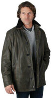 Remy Men's Leather Zip and Button Front Jacket Army/Rustic