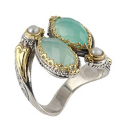 Konstantino Sea Blue Agate & Pearl Bypass Ring