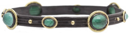 Armenta Malachite Doublet Wide Roped Bangle Bracelet