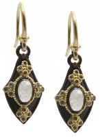 Armenta Petite Pointed Shield Drop Earrings with Rainbow Moonstone
