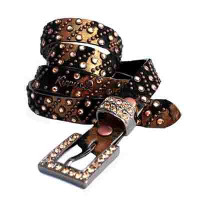 "Kippy's 3/4"" Rain On Acid Hair Hide Belt with Crystal Buckle"