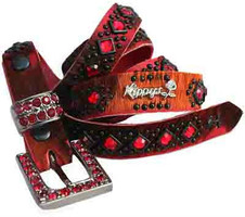 "Kippy's 3/4"" Deep Red April On Hair Hide Belt with Crystal Buckle"