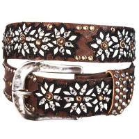 "Kippy's 1.5"" Chocolate Borello, Black, and White Leather Belt Daisy Overlay with Hammered Buckle"