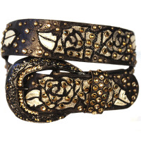 "Kippy's 1.5"" Black and Gold Shimmer Leather Belt with Roses Overlay and Venetian Crossover Pave Buckle"