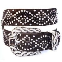 "Kippy's 1.5"" Black Leather Geisha Belt with Double Helix Pave Buckle"