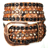 """Kippy's 2 1/4"""" Cognac Rose Leather Brixton Belt with Hammered Buckle"""