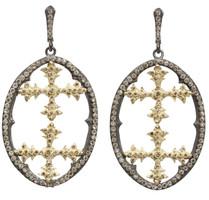 Armenta Earrings Open Oval Sombrero Cross Diamonds