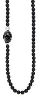 King Baby Studio Onyx Bead Necklace w/ Jet Skull