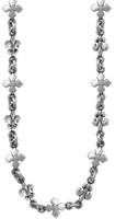 King Baby Studio Fleur De Lis & MB Cross Chain Necklace