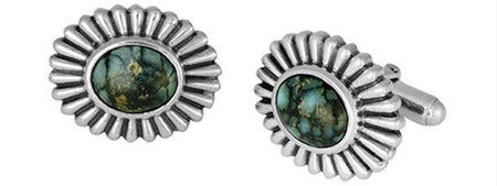 King Baby Studio Top Hat Spotted Turquoise Concho Cufflinks