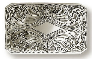"Bohlin 1.5"" Diamond Shield Engraved Trophy Buckle"
