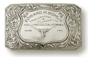 "Bohlin 1.5"" Steer Brand Sterling Silver Trophy Buckle"