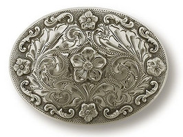 "Bohlin 1.5"" 5 Flower Sterling Silver Trophy Buckle"