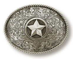"Bohlin 1.5"" Sterling Silver Star with Rope Edge Trophy Buckle"