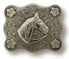 "Bohlin 1"" 4 Flower Border and Horse Head Trophy Buckle"