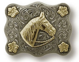 "Bohlin 1"" 14k Gold 4 Flower Border and Horse Head Trophy Buckle"