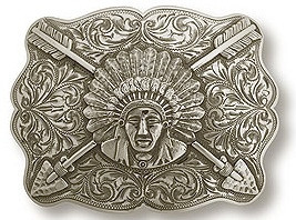 "Bohlin 1.5"" Native American Chief and Crossed Arrows Trophy Belt Buckle"