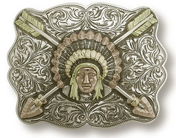 "Bohlin 1.5"" Tri-Colored Native American Chief with Crossed Arrows Trophy Buckle"