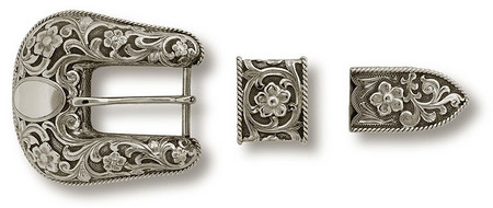 "Bohlin 1"" 3 Pc. Scrolls, Flowers, and Rope Bordered Ranger Buckle Set"