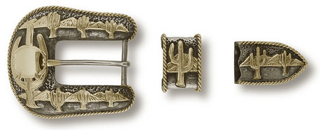 "Bohlin 1"" 3 Pc. Arizona Desert with Green Gold Cactus and Rope Border Ranger Buckle Set"