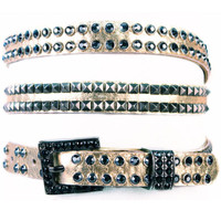 "Kippy's 3/4"" Double Wrap Belt with Half Crystal Half Pyramids and Crystal Buckle"