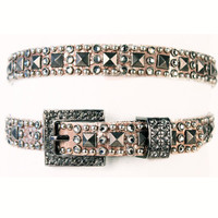 "Kippy's 3/4"" Vertical Brimstone Belt with Crystal Buckle"