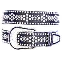 "Kippy's 1 1/4"" Crystal Diamond Stitch Belt with Recessed Pave Buckle"