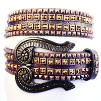 """Kippy's 1.5"""" Double Shadow Belt with Crystal Coil Buckle"""