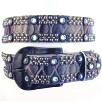 """Kippy's 1.5"""" Domino Belt with Hammered Buckle"""