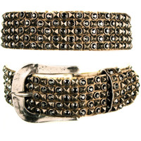"""Kippy's 1.5"""" Glasstrax Belt with AB and Hammered Buckle"""