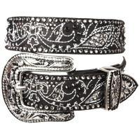 "Kippy's 1.5"" Menek Belt with Inlay Crystal Pave Cowboy Buckle"