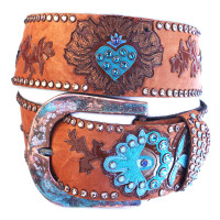 "Kippy's 2 1/4"" Contoured Heart Weeds Overlay Belt with Patina Hammered Buckle"