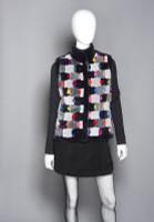 Zuki Sheared Beaver Intarsia Colored Tiled Fur Vest with Mandarin Collar