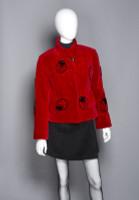 Zuki Sheared Beaver Coat with Lady Bug Pattern and Crystal Embellishment