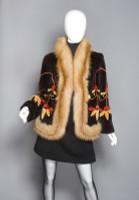 Zuki Sheared Beaver Lotus Pattern with Red Fox Trim Coat