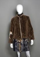 Zuki Sheared Beaver Fur Coat with Crystal Embellishment and Horse Design