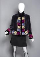 "Zuki Sheared Beaver with ""Joy"" Designed Border Bolero Coat"