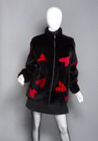 Zuki Sheared Beaver Laser Cut Coat with Heart Pattern