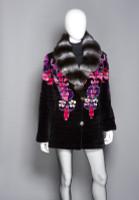 """Zuki Sheared Beaver Laser Cut Coat with """"Baroque"""" Design and Chinchilla Collar"""