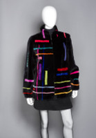 "Zuki Sheared Beaver Coat with ""Abstract"" Pattern"