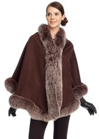 Brown Cashmere Capelet with Snowtop Fox Trim