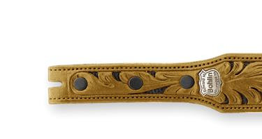 Bohlin Made Hand Tooled Black Alligator and Navy Lizard Belt