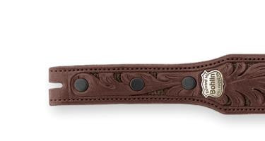 Bohlin Made Hand Tooled Navy Alligator and Chocolate Lizard Belt